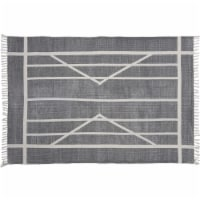 Saltoro Sherpi 4 X 6 Feet Fabric Rug with Fringes and Centerpoint Stripes, Gray and White - 1 unit