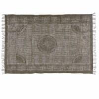 Saltoro Sherpi 4 X 6 Feet Rectangular Fabric Rug with Fringes and Block Prints, Dark Gray - 1 unit