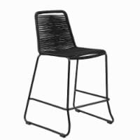 30 Inch Metal Outdoor Barstool with Fishbone Weave and Sled Base, Black - 1