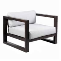 Wooden Outdoor Lounge Chair with Cushioned Seating, Dark Brown and Gray