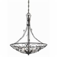 Saltoro Sherpi 3 Bulb Round Metal Chandelier with Scrolled and Leaf Details, Dark Bronze - 1 unit