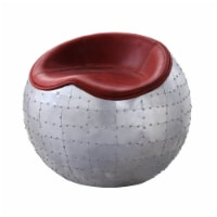 Saltoro Sherpi Spherical Metal Ottoman with Leatherette Saddle Seat, Gray and Red - 1 unit