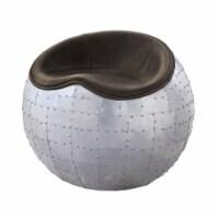 Saltoro Sherpi Spherical Metal Ottoman with Leatherette Saddle Seat, Gray and Dark Brown - 1 unit