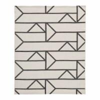 Saltoro Sherpi Rectangular Polypropylene Rug with Geometric Pattern,Medium,Beige and Black - 1 unit