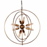 Saltoro Sherpi 3 Rings Orb Shape 8 Light Metal Chandelier, Antique Brass - 1 unit