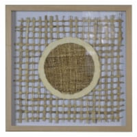 Saltoro Sherpi Wooden Shadow Box with Abstract Weaving Pattern, Brown and Cream - 1 unit
