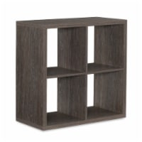 Saltoro Sherpi Transitional Style Cube Shape Storage Cabinet with 4 Cubbies, Gray - 1 unit