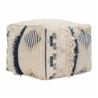 Saltoro Sherpi Fabric Pouf Ottoman with Woven Design and Fringe Details, Cream and Blue - 1 unit