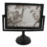 Saltoro Sherpi 4 x 6 Cast Iron Picture Frame with Pedestal Base and Tubular Support, Black - 1 unit