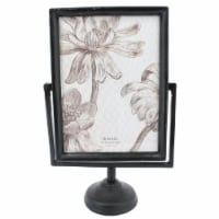 Saltoro Sherpi 5 x 7 Cast Iron Picture Frame with Pedestal Base and Tubular Support, Black - 1 unit