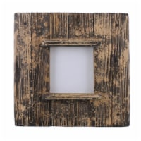 Saltoro Sherpi Square Wooden Frame with Weathered Details, Brown - 1 unit