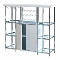 Benjara 47.25  Transitional Metal Bar Cabinet with 6 Shelves in Clear and Chrome - 1