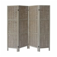 4 Panel Foldable Wood Divider Privacy Screen in Antique White - 1
