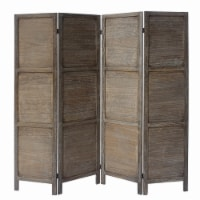 4 Panel Foldable Wooden Divider Privacy Screen in Dark Brown - 1
