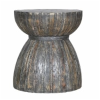 20 Inch Hourglass Shape Mango Wood End Side Table in Plank Style in Brown - 1