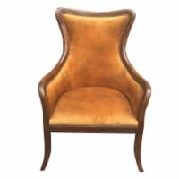 Curved Back Fabric Arm Upholstered Wooden Side Sofa Chair, Brown ,Saltoro Sherpi - 1 unit