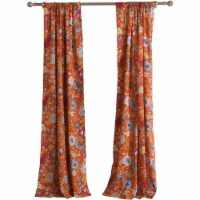 Saltoro Sherpi Paris 4 Piece Floral Print Fabric Curtain Panel with Ties, Orange - 1 unit