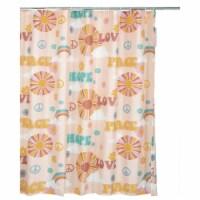 Saltoro Sherpi Dublin Rainbow and Cloud Print Fabric Shower Curtain with Button Holes, Beige - 1 unit
