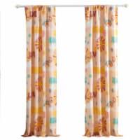 Saltoro Sherpi Dublin 4 Piece Rainbow and Cloud Print Fabric Curtain Panel with Ties, Beige - 1 unit