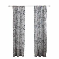 Saltoro Sherpi Madrid 4 Piece Beach Print Fabric Curtain Panel with Ties, White and Gray - 1 unit