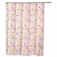 Saltoro Sherpi Sava 72 Inch Fabric Shower Curtain with Floral Print, Pink - 1 unit