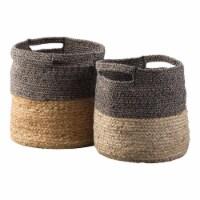 Saltoro Sherpi Dual Tone Jute Basket with Braided Design, Set of 2, Brown - 1 unit