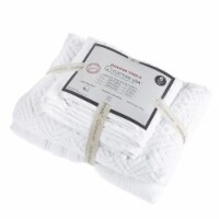 Saltoro Sherpi Valletta 6 Piece Fabric Towel Set with Jacquard Pattern The Urban Port, White - 1 unit