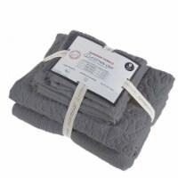 Saltoro Sherpi Assisi 6 Piece Fabric Towel Set with Jacquard Pattern The Urban Port, Gray - 1 unit