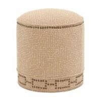 Saltoro Sherpi 20 Inches Polka Dot Fabric Wooden Frame Ottoman, Brown - 1 unit