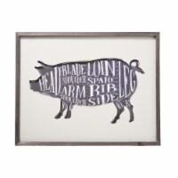 Saltoro Sherpi Rectangular Wood Wall Art with Pig Cut Design, White and Gray - 1 unit