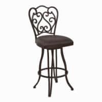 Saltoro Sherpi Metal Scroll Design Open Back Barstool with Fabric Padded Seat, Gray - 1 unit