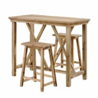 3 Piece Counter Height Tavern Set with Wood Grain and Knot Details, Brown - 1