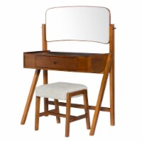 Mid Century Style Vanity Set with Adjustable Tilting Mirror, Brown - 1