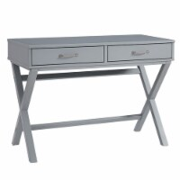 2 Drawer Wooden Desk with X Shaped Legs, Gray - 1