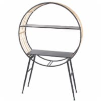 2 Tier Accent Table with Round Top and Vinyl Rope Accent, Black - 1