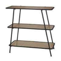 31 Inches 3 Tier Metal Bookcase with Weaved Design, Black and Brown - 1