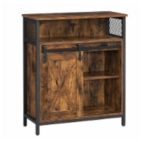 27.6 Inches Wooden Sideboard with Barn Sliding Door, Brown and Black - 1