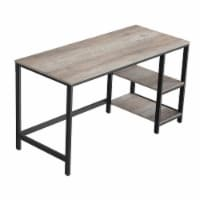 55 Inches Metal Frame Computer Desk with 2 Shelves, Gray and Black - 1
