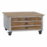 3 Drawer Wooden Coffee Table with Caster Wheels, Brown and Gray - 1