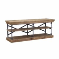 Wooden Entertainment Unit with Metal Pipe Design Frame, Brown and Black - 1
