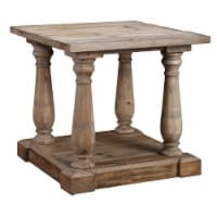 Farmhouse Wooden Side Table with Open Shelf and Turned Legs, Natural Brown - 1