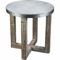 Round Metal Top Side Table with X Shaped Base, Gray - 1