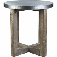 Round Metal Top Side Table with X Shaped Base, White and Brown - 1