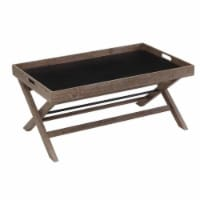Removable Tray Top Wooden Coffee Table with X Legs, Brown - 1