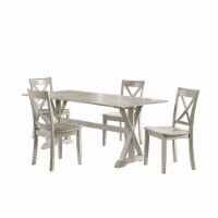 Wooden 5 Piece Dining Set with X Shaped Back, White - 1