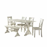 Wooden 6 Piece Dining Set with 1 Bench and X Back Chairs, White - 1
