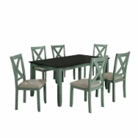 7 Piece Dining Table Set with Padded Seat and X Back, Green - 1