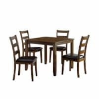 5 Piece Dining Table Set with Leatherette Seating, Brown - 1
