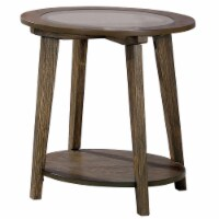 24 Inches End Table with Round Glass Top and Angled Legs, Brown - 1