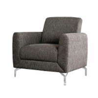 Accent Chair with Fabric Padded Seat and Metal Legs, Gray - 1